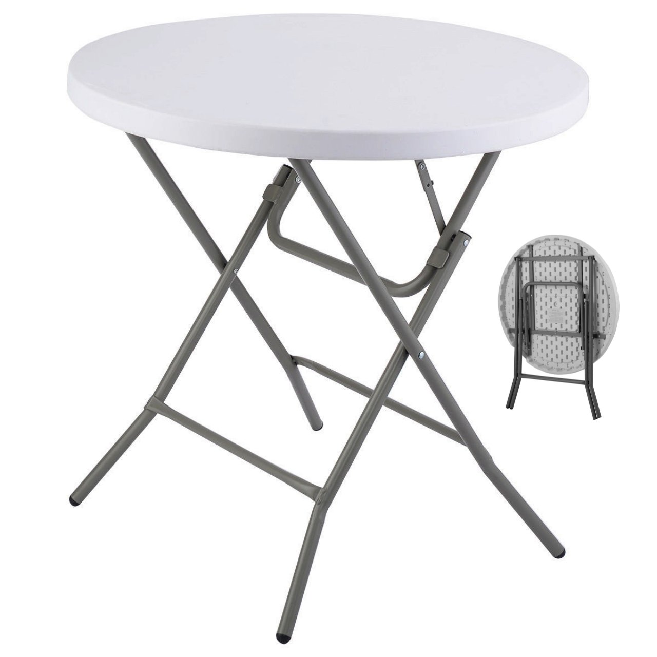 Commercial Construction Light-weight Portable Multipurpose 34'' Round Table High Density Plastic Powder Coated Steel Frame Folding Indoor-Outdoor Party Dining Laptop Desk #1181 by Koonlert@shop