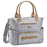 JJ Cole - Caprice Multifunction Diaper Bag, Stylish and Large Capacity Tote for Baby Supplies with Stroller Straps, Multiple Pockets, and Changing Pad, Moroccan Gray