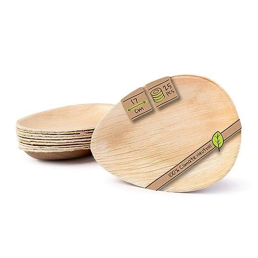 BIOZOYG Platos de Hojas de Palma I 25 Piezas de ojas de Palma Forma de Gota 17 cm I Bio vajilla desechable Boda compostable Biodegradable Vajilla de ...