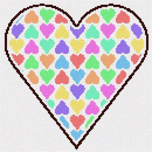 Valentine Hearts Needlepoint Canvas ()
