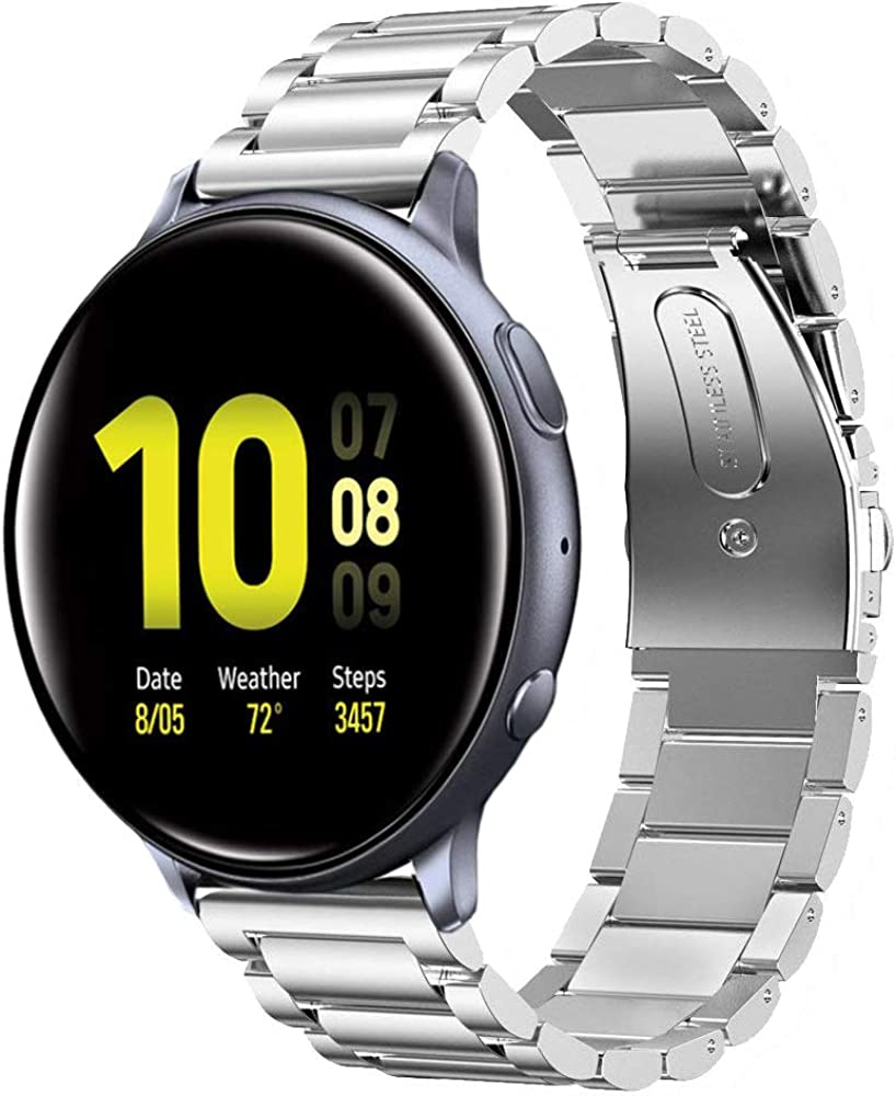 Shangpule Compatible for Galaxy Watch Active 2 40mm / 44mm Bands, Galaxy Watch 3 41mm Band, 20mm Stainless Steel Strap Compatible for Samsung Galaxy Active 2