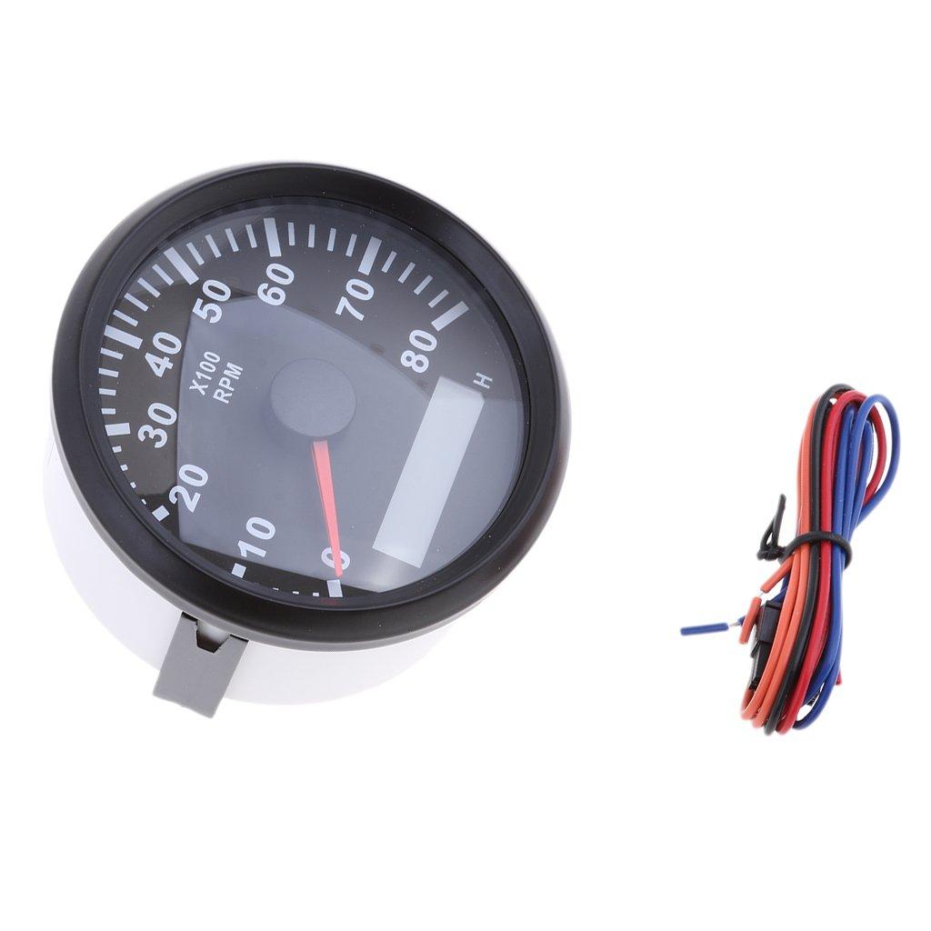 F Fityle 1 Stü ck Tachometer Distanzmessung, automatisches Aufwachen, wasserdicht Stunde Meter 0-8000 Rpm 85mm # 2