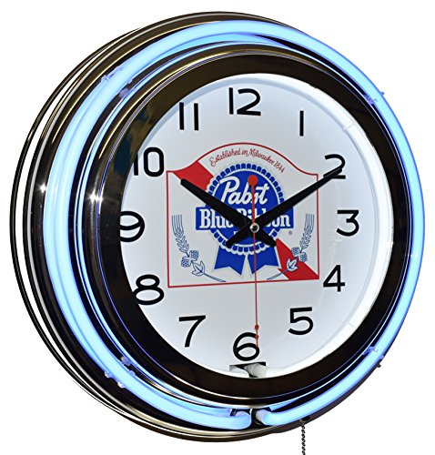 - Pabst Blue Ribbon Beer Blue Double Neon Advertising Clock Man Cave Game Room Decor