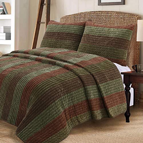 - Cozy Line Home Fashions Rhett Dark Brown Sage Green Bold Striped Reversible Quilt Bedding Set, Coverlet, Bedspread Set (Brown/Sage, Queen - 3 Piece)