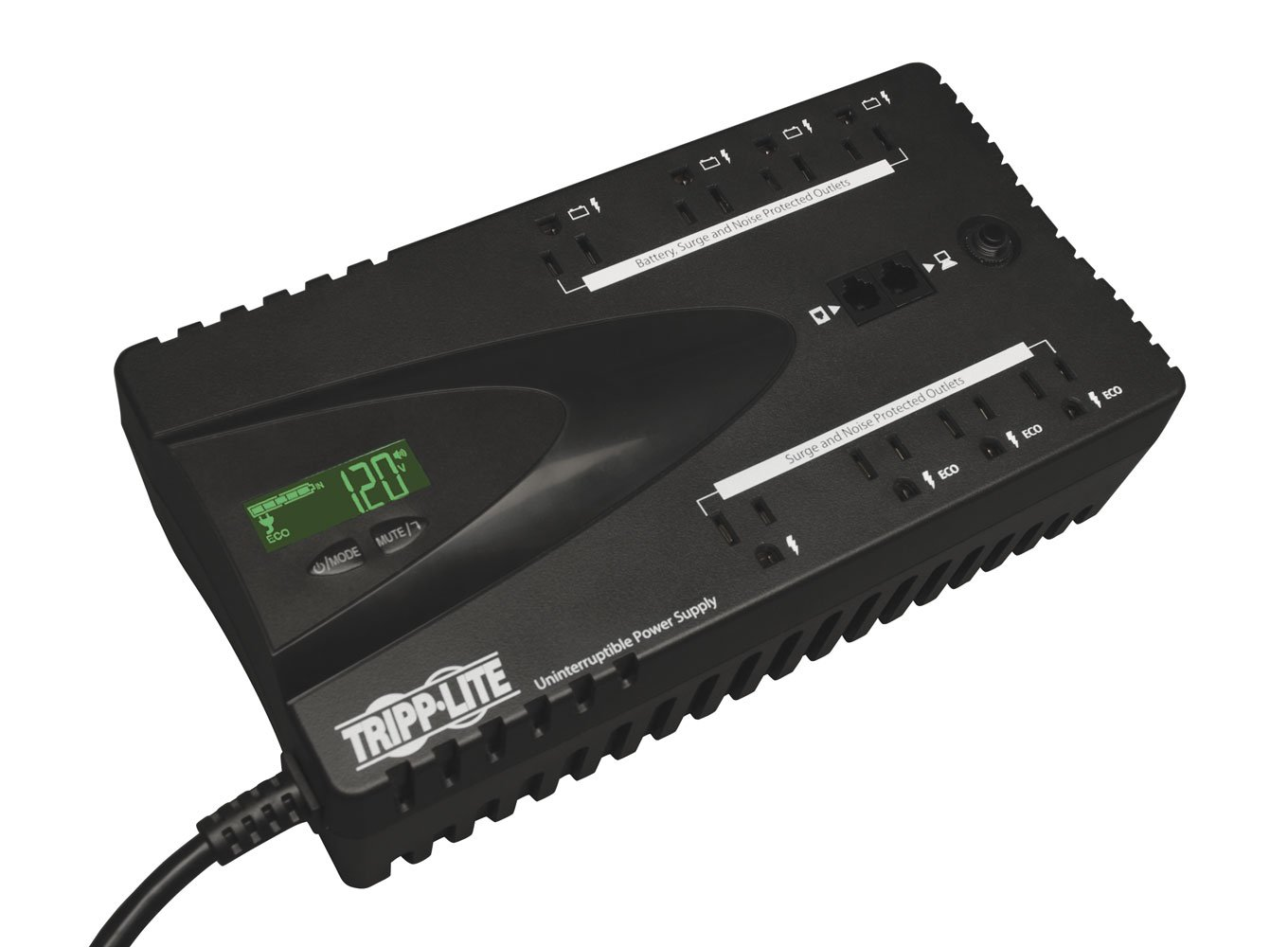 Tripp Lite 650VA UPS Battery Backup, LCD, 325W Eco Green, USB, RJ11, 8 Outlets (ECO650LCD)