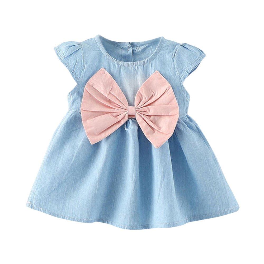 Dingji Toddler Baby Girls Cute Bowknot Regular Child Dress Solid Denim Clothes Dress