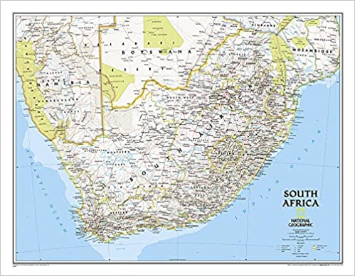 Africa Map Geography.National Geographic South Africa Classic Wall Map 30 25 X 23 5