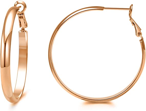 Big Hoop Earrings Rose Gold Rounded Hoops High Polished Women S Hypoallergenic Dainty Hoop Earring Rose Gold Amazon Ca Clothing Accessories