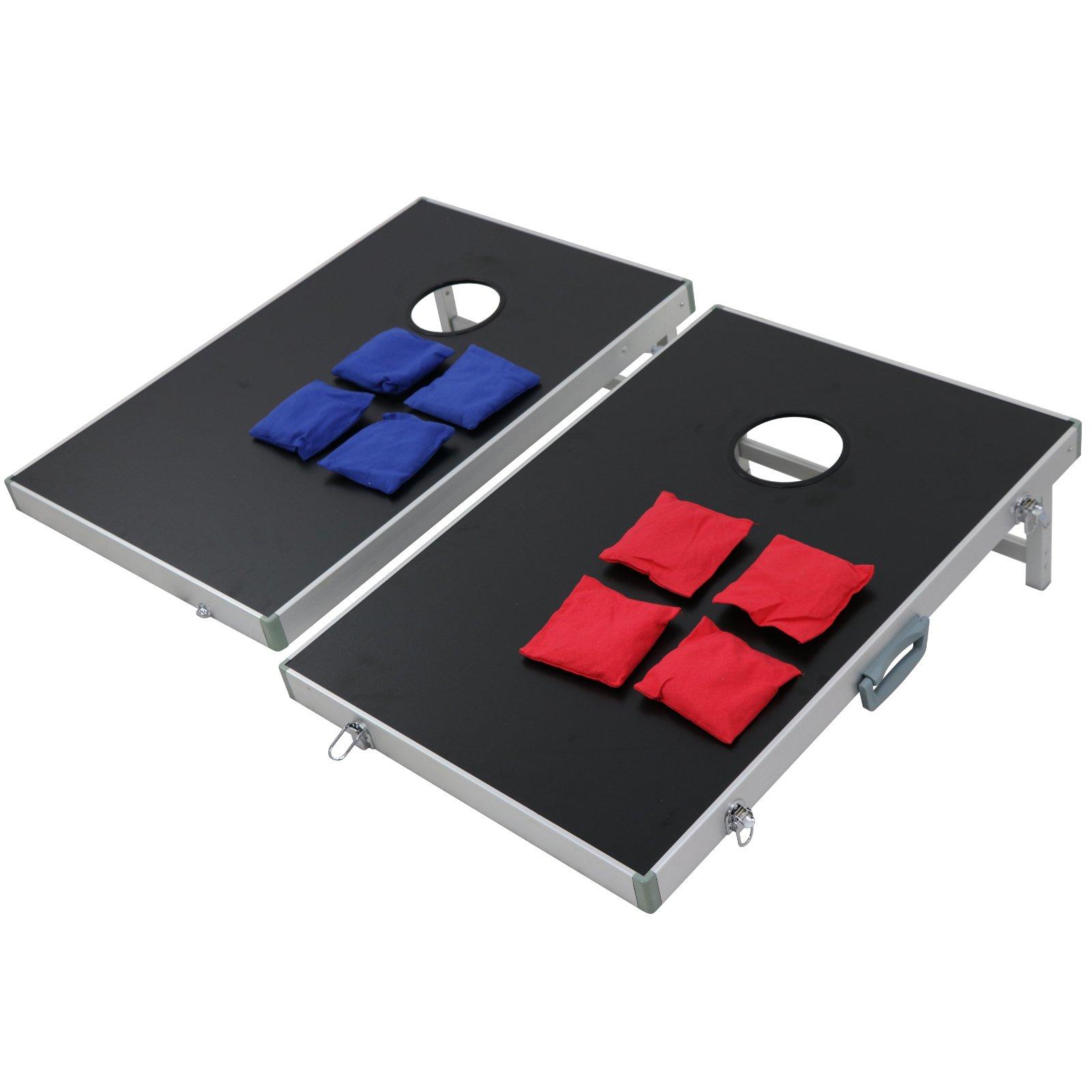 Nova Microdermabrasion Solid Wood Cornhole Bean Bag Toss Game Set Regulation Size Board Game W/ 8 Bean Bags & Carrying Case (3ft2ft Aluminum frame)