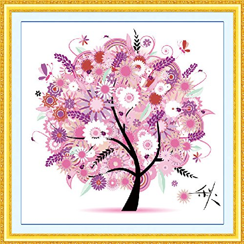 broidery Set Kit 3D Print Seasons Fortune Tree Home Bedroom Decor(fall) ()