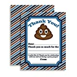 Poop Emoji Themed Thank You Notes for Kids, Ten 4'' x 5.5'' Fill In The Blank Cards with 10 White Envelopes by AmandaCreation