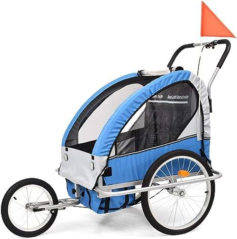 vidaXL 2 en 1 Cochecito y Remolque de Bicicleta para Niños Azul y Gris Juguete: Amazon.es: Bebé