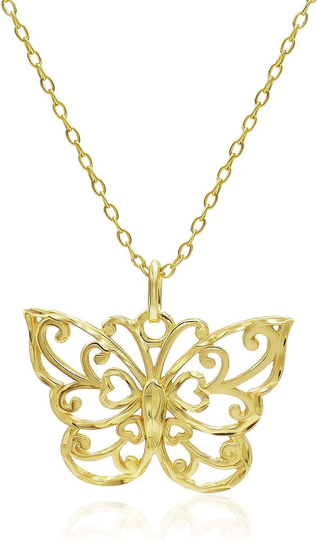 River Island Sterling Silver Diamond-Cut Filigree Butterfly Pendant Necklace