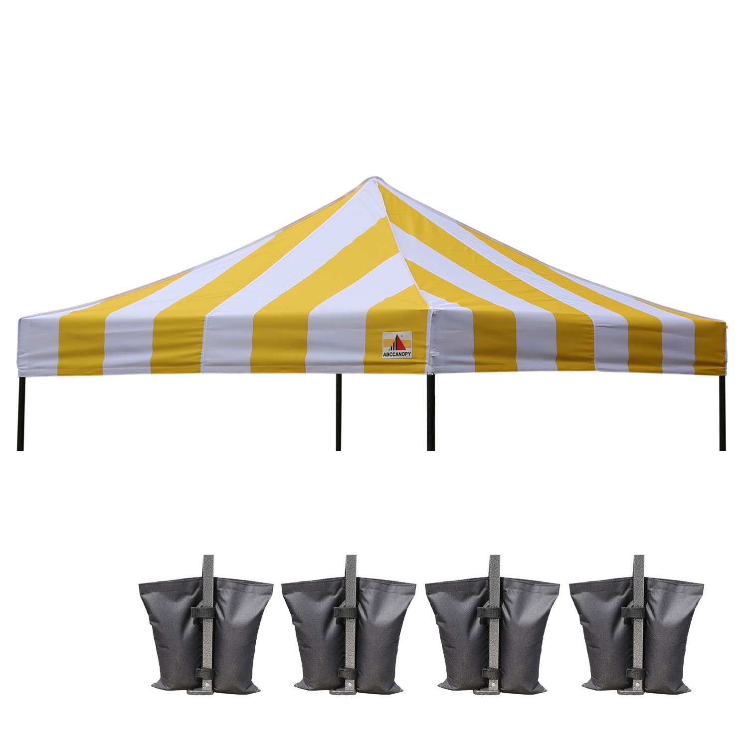 ABCCANOPY Replacement Top Cover 100% Waterproof (18+ Colors) 10x10 Pop Up  Canopy Tent Top, Bonus 4 x Weight Bags (Stripe Gold)