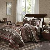 5pc Girls Red Brown Jacquard Stripe Theme Bedspread King Set, Elegant Stylish Motif Leaf Geometric Medallion Striped Boho Chic Floral, Solid Tufted Revrsible Bedding, Vibrant Colors