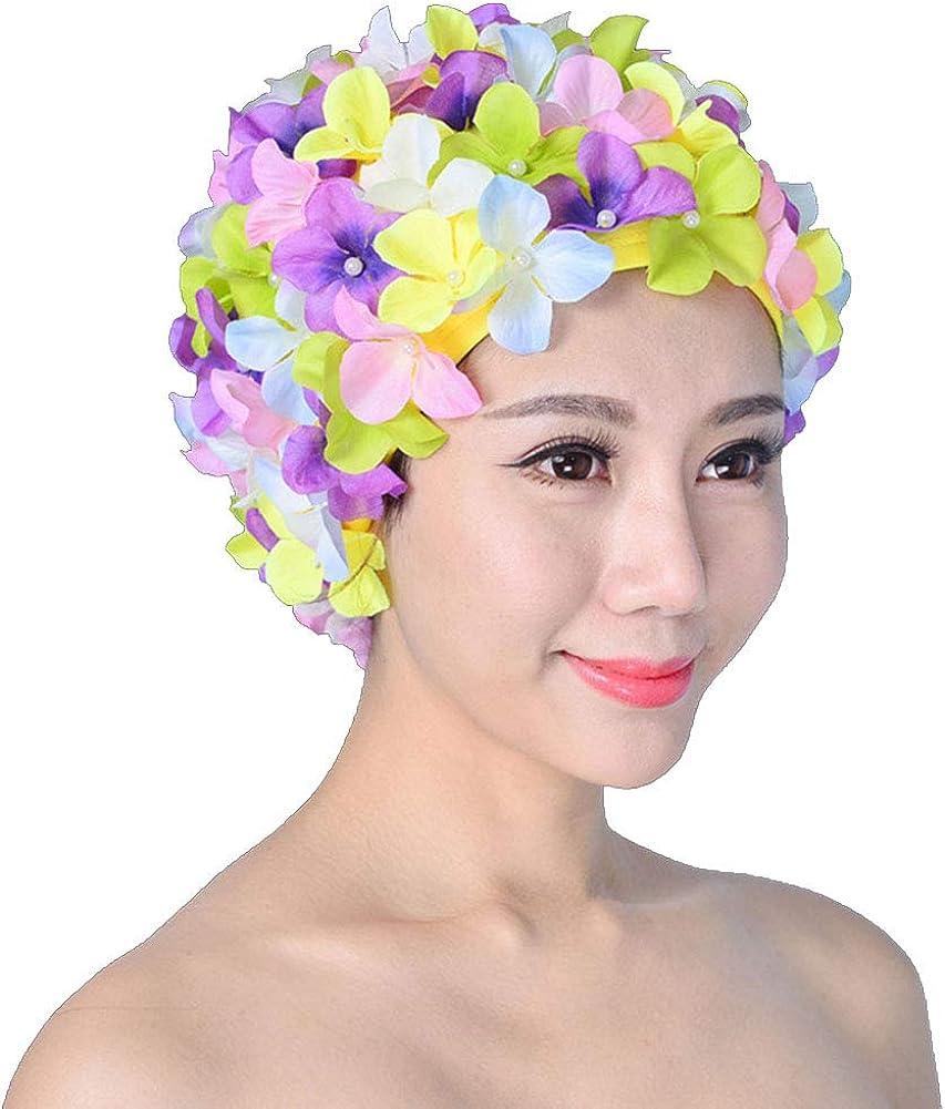 Fayeille Gorro de natación para mujer, estilo retro, transpirable, con flores, para baño de pétalos