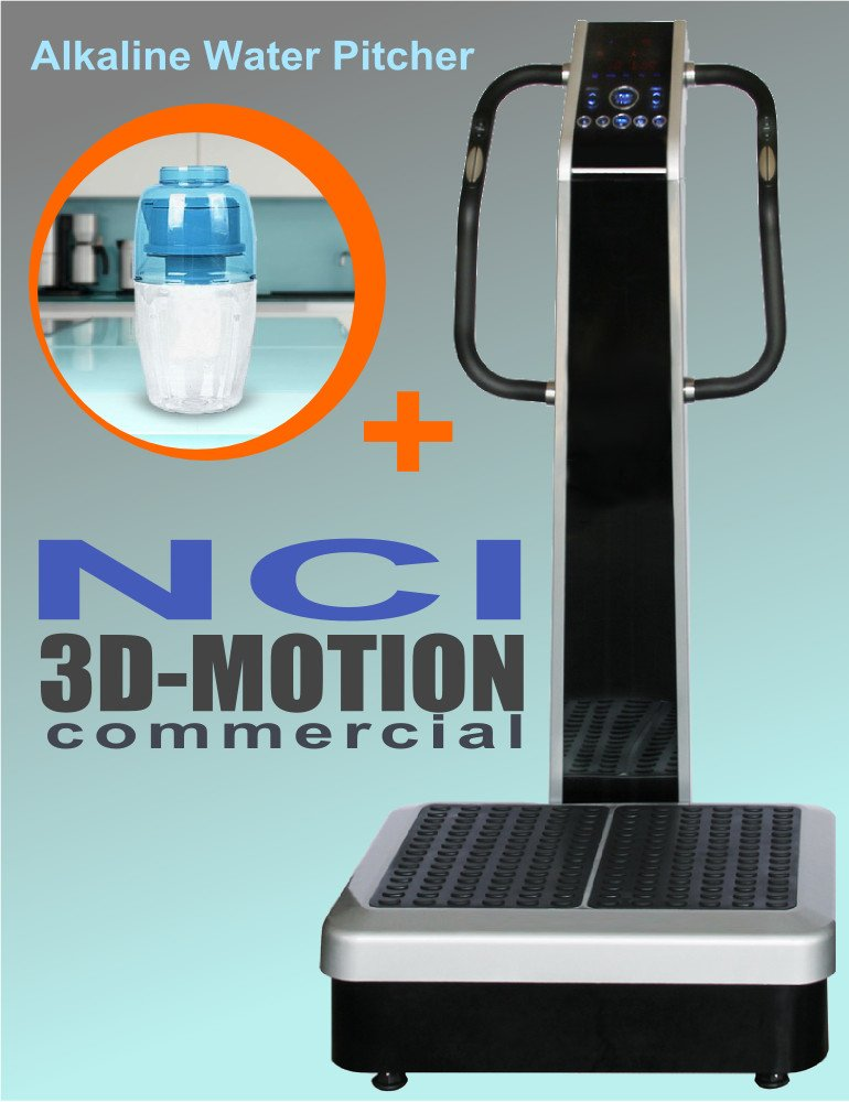 NCI Whole Body Vibration Machine - 3D-Motion Commercial (2HP, 440 lbs), Dual Motor, Large Vibrating Platform, USB Programmable + BioMineral Alkaline Water Pitcher