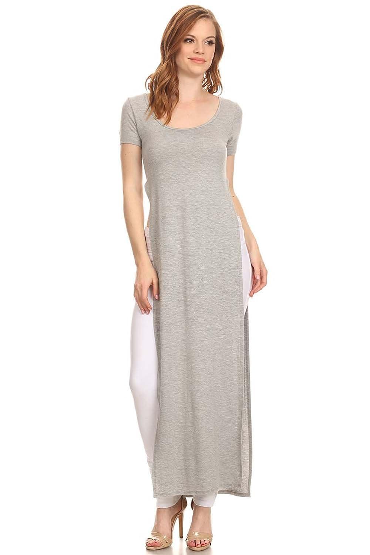 fc25d47ed05 Plus Size T Shirt Maxi Dress With Slits
