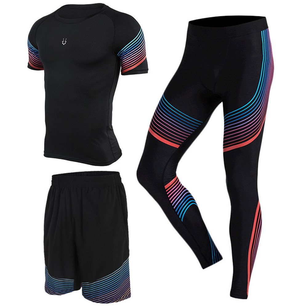 Gym Suit Men's Tights Running Clothes Training Basketball Pants Shirts Ssts 3Pcs Vansydical