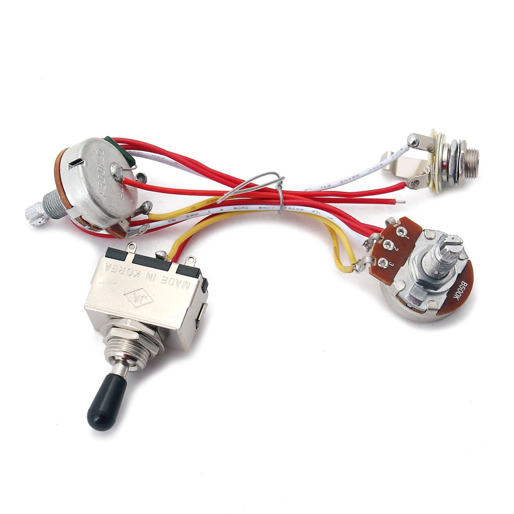 MonkeyJack Guitar Wiring Harness Kit 3 Way Toggle Switch 500K Pots for Electric Guitar Cigar Box Guitar Parts