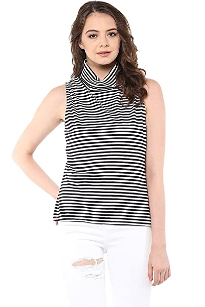 4cf1a473c3 Miss Chase Women s Cotton Sleeveless High Neck Top  Amazon.in  Clothing    Accessories