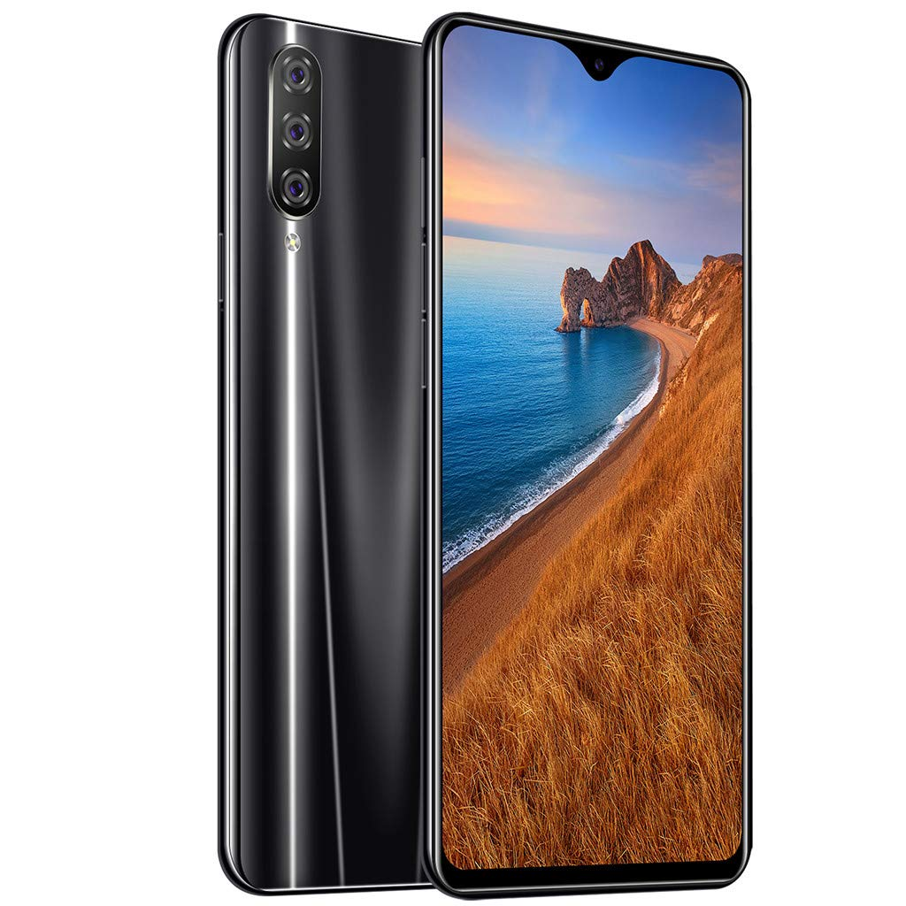 QYuan 64GB Memory Cell Phone(Unlocked) - Android 9.1 8 Core 6.3'' HD Smartphone - Screen Fingerprint Unlocking - Face Recognition (Black) by QYuan