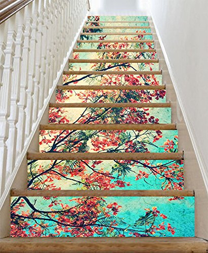 Estrellaw Retro Beautiful Flowers Stair Risers Decoration