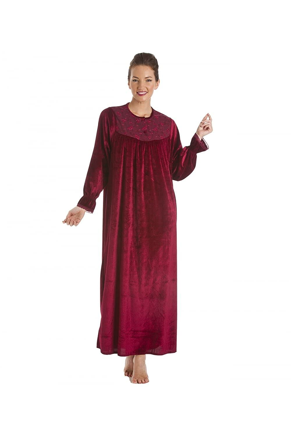 Camille Womens Ladies Red Full Length Velour Nightdress