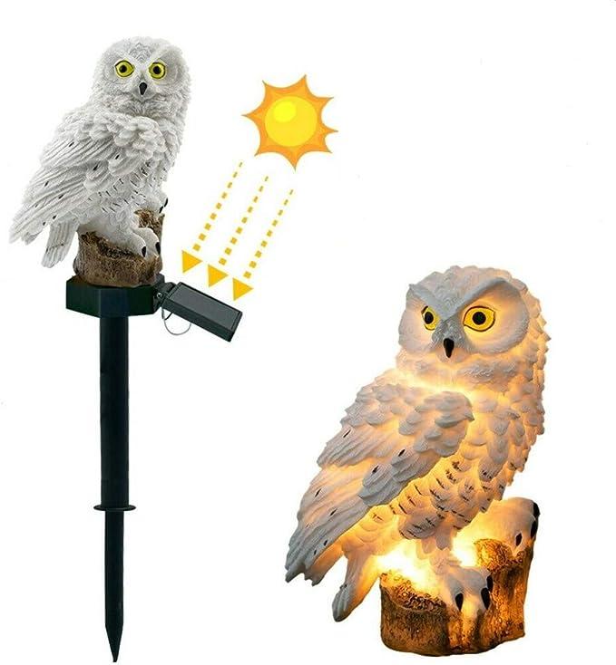 Wasserdichte Solar Au/ßen Au/ßenleuchte Eulenform Solarbetriebene LED-Lampe Au/ßendekor Skulptur Licht Neuheit Solar Gartenleuchten