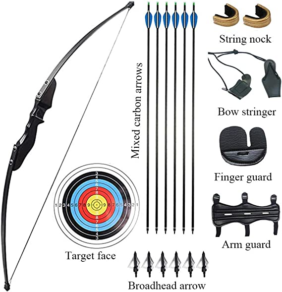 Vogbel Archery Takedown Recurve Bow and Arrow Set 30lb 40lb Right Hand Longbow Kit for Beginner Outdoor Hunting Shooting Training Practice
