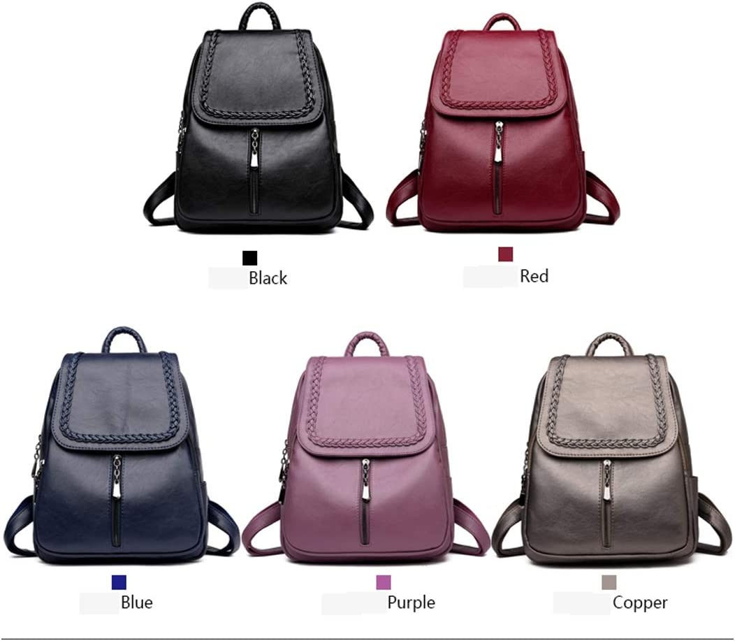 Black//Blue//Red//Purple//Bronze Simple Fashion Latest Models PU Leather 8haowenju Girls Multifunctional Backpack for Daily Travel//Tourism//School//Work//Fashion//Leisure
