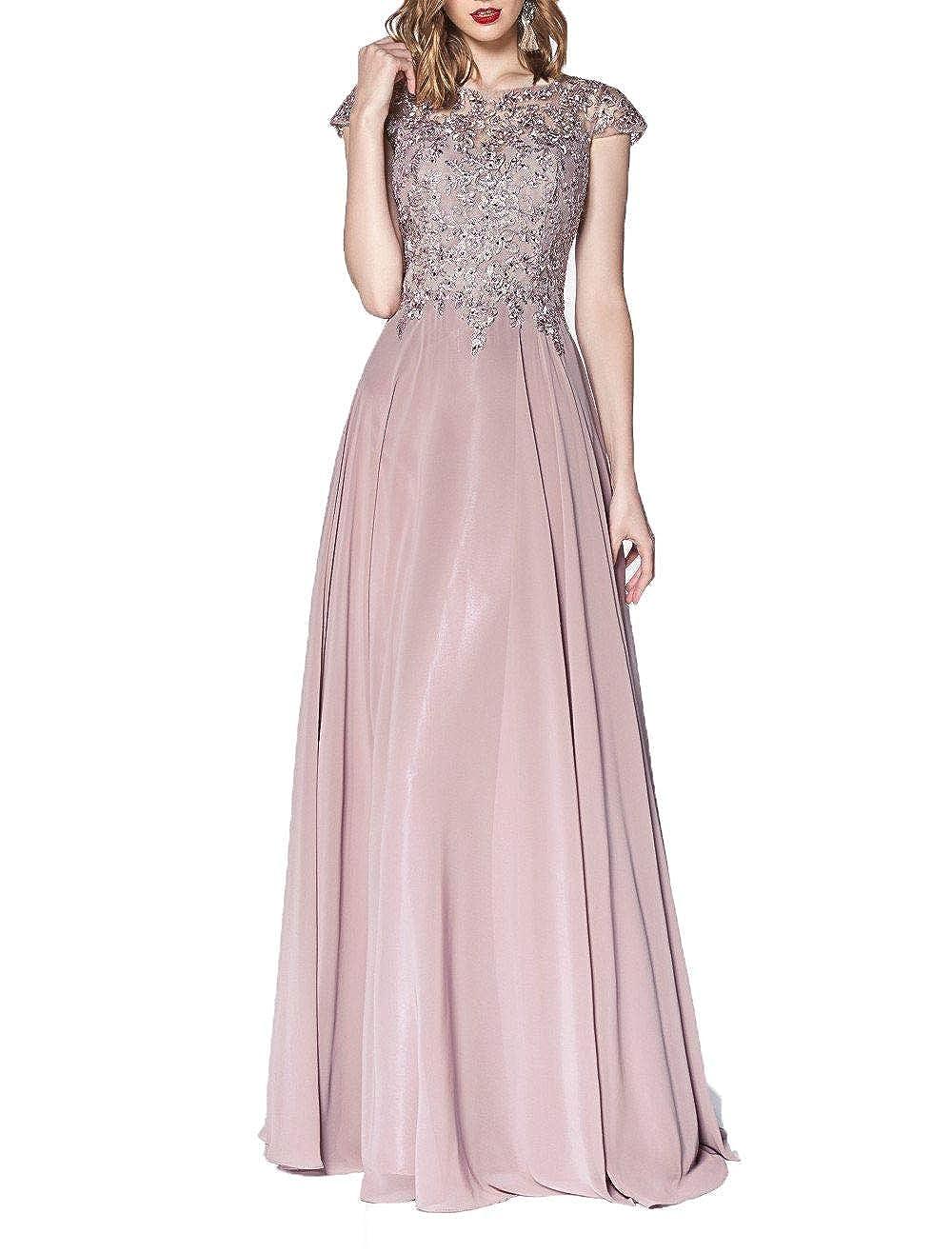 bluesh Wanshaqin Women's Illusion Neckline Jeweled Waist Long Evening Gown Prom Formal Dress Bridesmaid Gown