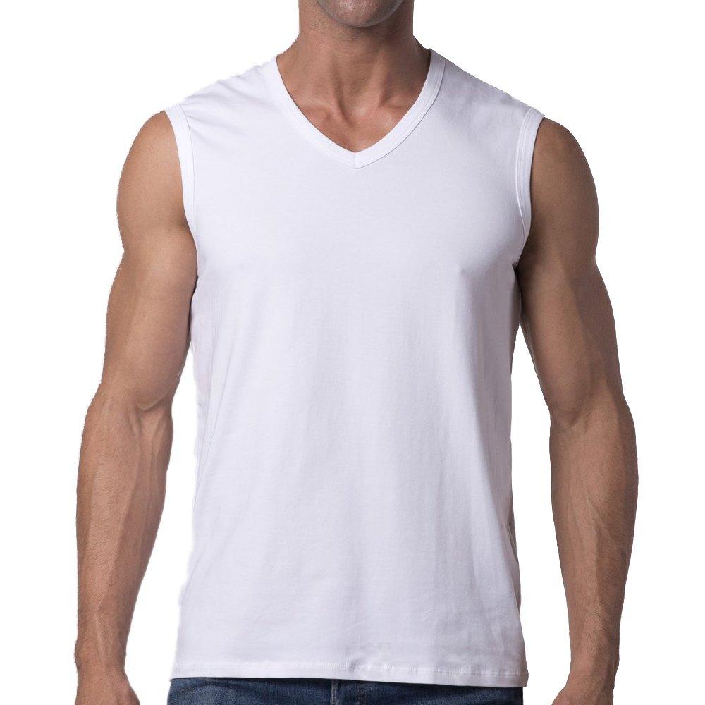 Y2Y2 Men's Sleeveless V-Neck T-Shirt/White/L (42''-44'') by Y2Y2