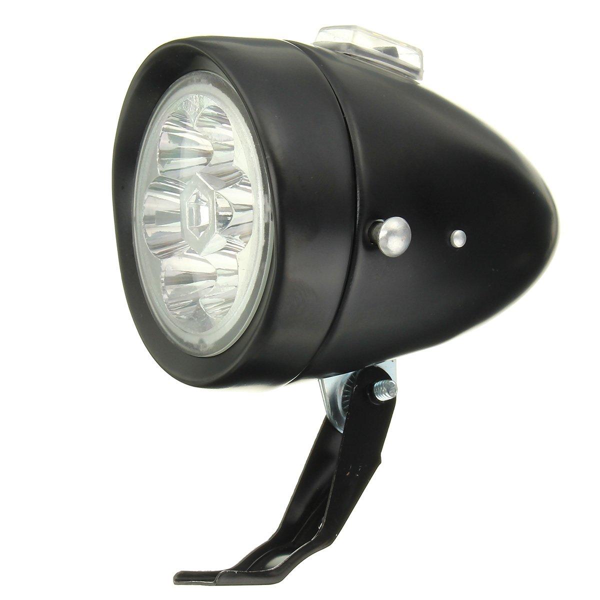 Alamor Retro Vintage E-Bike Bike Front Light Led Headlight Head Antiniebla Con Soporte-Negro