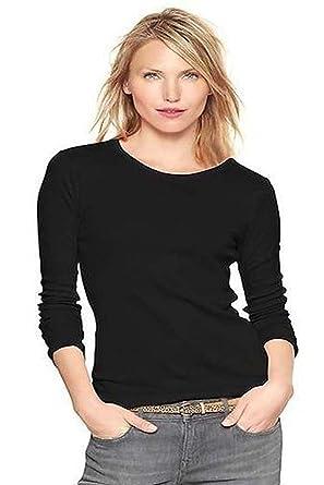 cbfa62384cd Elegance Women`s Plain Long Sleeve T-Shirt Crew Neck Tops(2214): Amazon.co. uk: Clothing