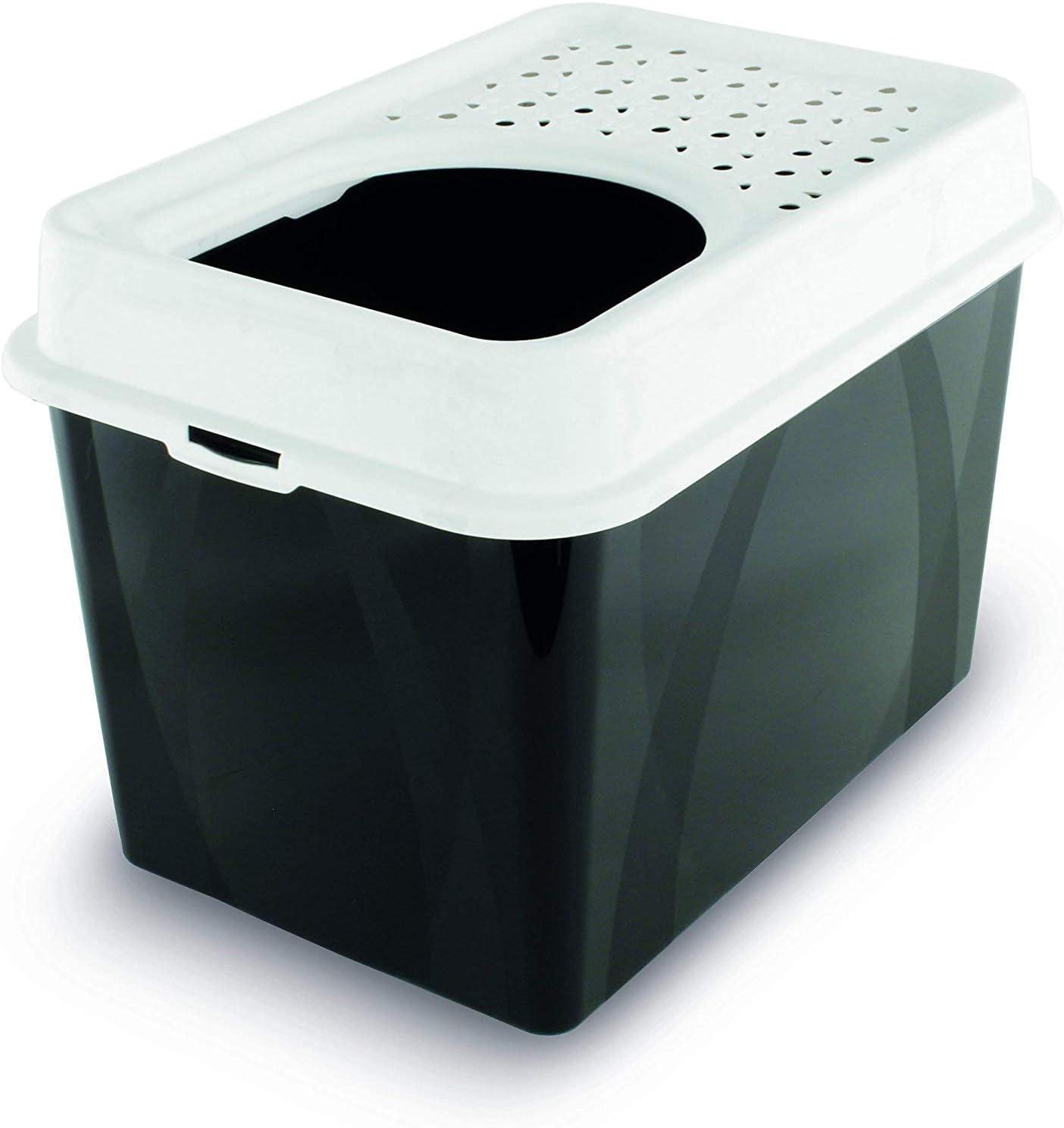 Rotho Berty - Caja de arena alta con entrada superior, plástico (PP) sin BPA, negro / blanco, 57,2 x 39,2 x 40 cm