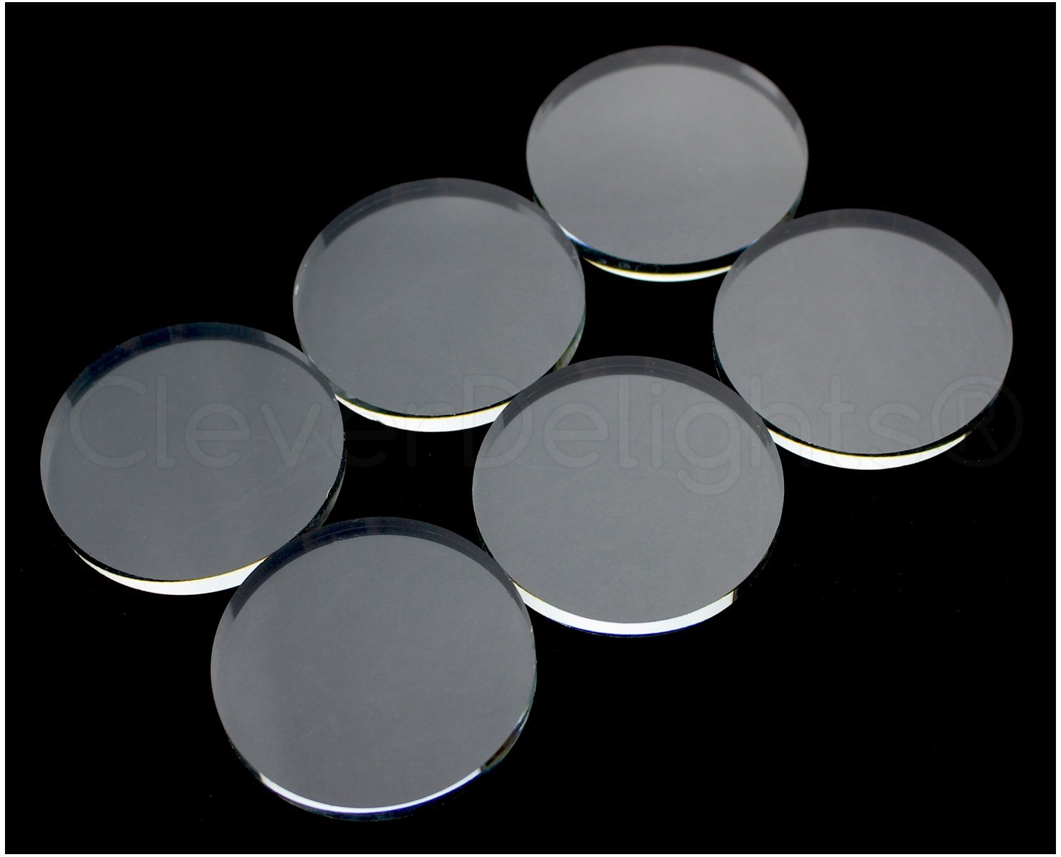 10 CleverDelights Round Glass Tiles - 40mm (1 9/16) Diameter - 2 Flat Sides - Clear Glass Tiles - For Photo Pendants Mosaics Trays - 1 9/16 inch 40 mm Tiles - 4mm Thick