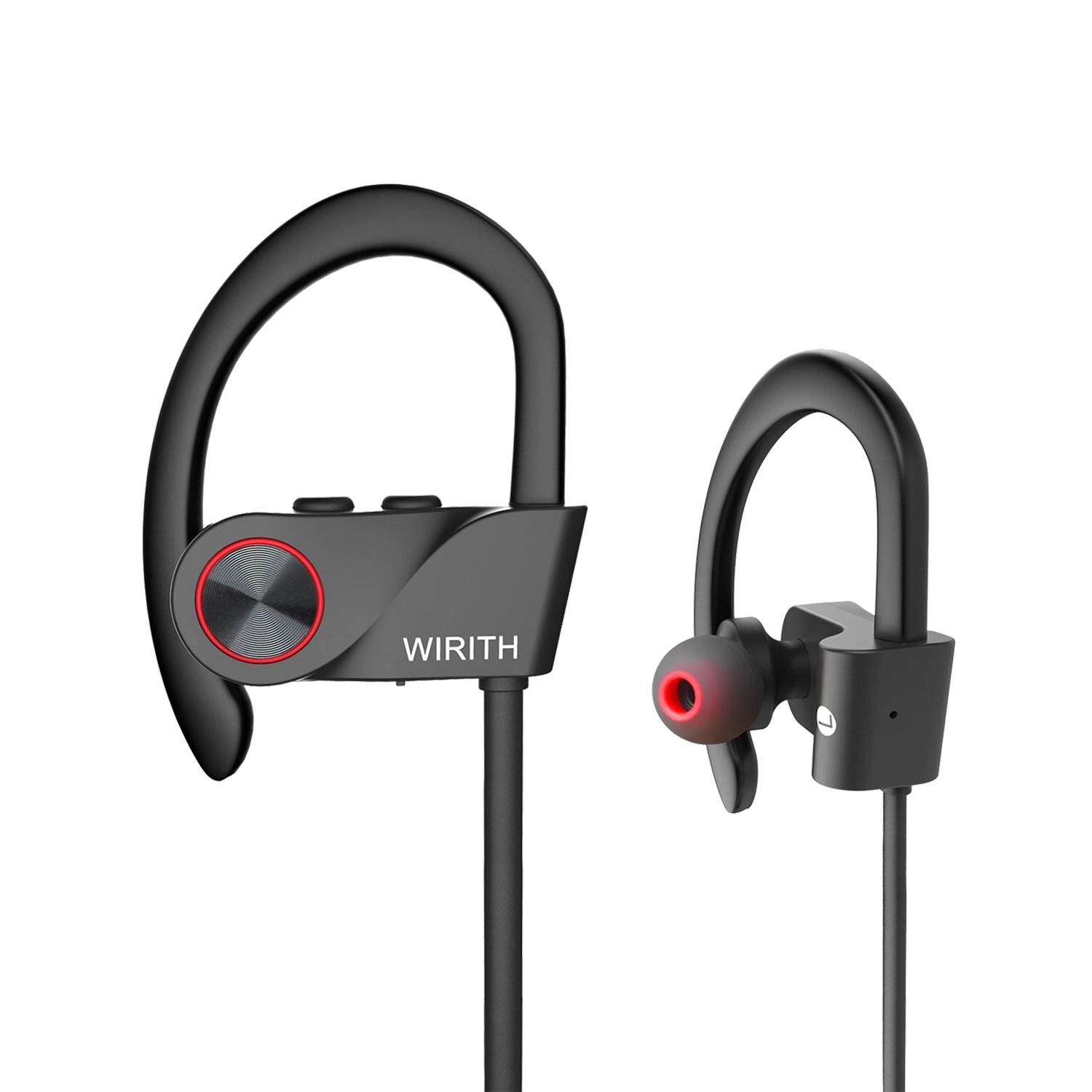 WIRITH Bluetooth Headphones, IPX6 Waterproof Sports Wireless Earbuds, In-Ear Bluetooth Headsets with Built-in Mic, HD Stereo Sound, Noise Cancelling, for Gym Running Workout by WIRITH