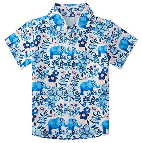 (RAISEVERN Boys Hawaiian Shirts Button Down Top Cool Tropical Elephant Dress Short Sleeve Blue Floral Beach Shirt for)