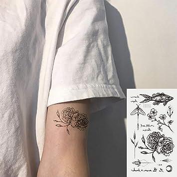Oottati 2 Hojas Pequeño Lindo Tatuaje Temporal Tattoo Flor De Pez ...