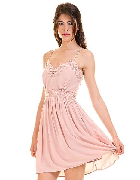 Vila Vestido romantico Rosa Encaje Clothes (L - Rosa)