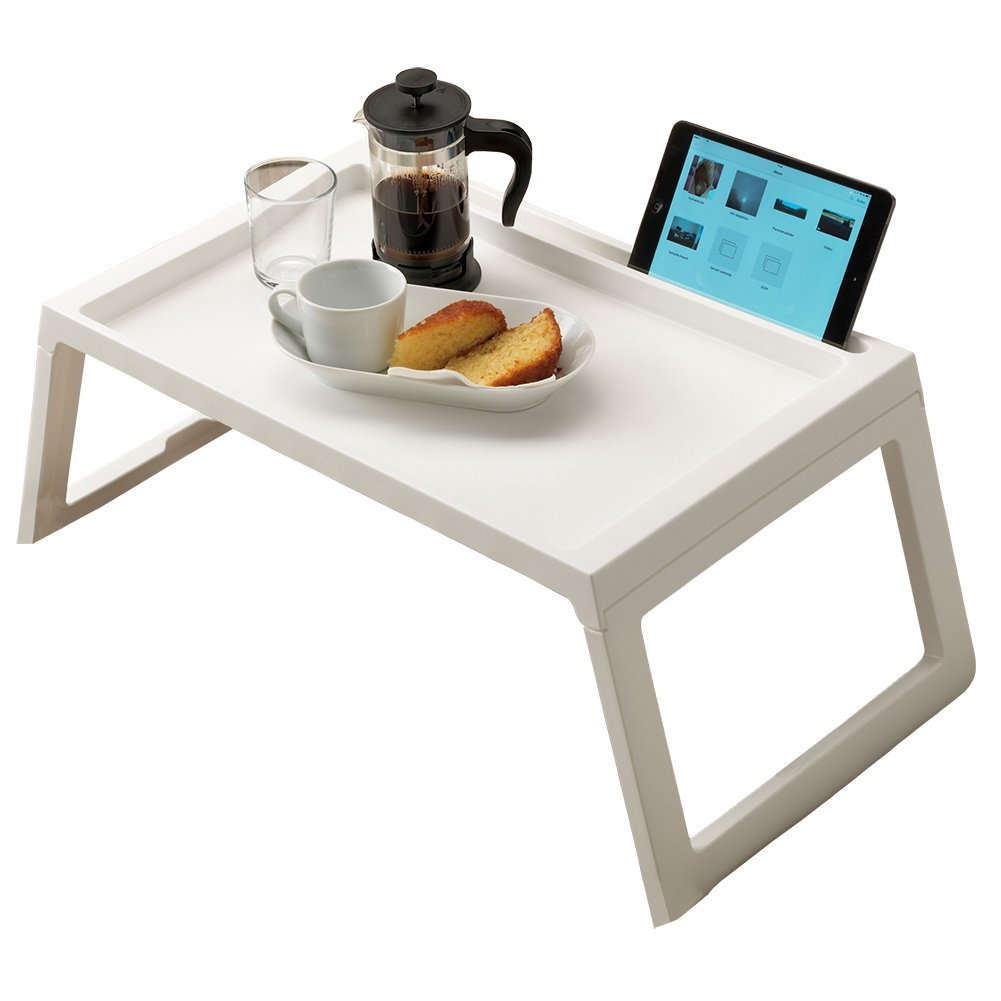 Bed Table Tray, Foldable Breakfast Serving Tray for Kids Eating, Laptop Computer Desk for Sofa, Portable Outdoor Camping Stand with Floding Legs, Lightweight PP, 22 Inch White by RAINBEAN