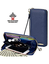 Clutch Wallet, COCASES RFID Protection Women PU Leather Zipper Cards Handbag (Navy Blue)