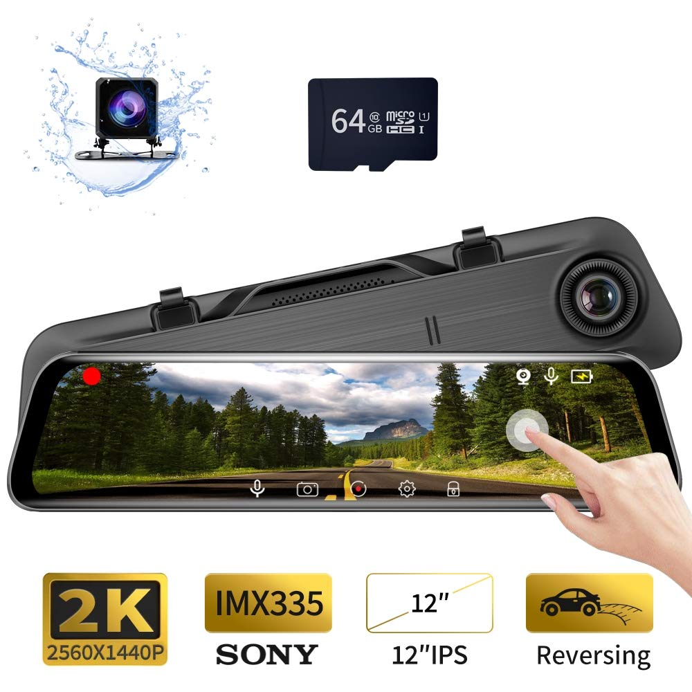 Built-in ADAS Anti-Glare Glass Mirror Night Vision Back-up Monitor,16GB C10 TF card included LDWS//FCWS RM85-D GeekRover Rearview Mirror Dash Cam 5 IPS Touch Screen Monitor FHD 1080P+720P dual camera