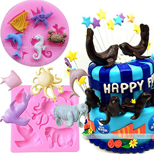 Anyana mini Octopus Dolphin Seal Starfish sea horse crab creatures mould beach cake Fondant gum paste mold for Sugar paste gumpaste cupcake decorating topper decoration sugarcraft decor set of 2 Fish Soap Mold