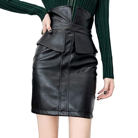 84b2bc4f8 Image Unavailable. Image not available for. Color: TRENTON Women's Skirts  Solid Color Slit High Waist Faux Leather ...