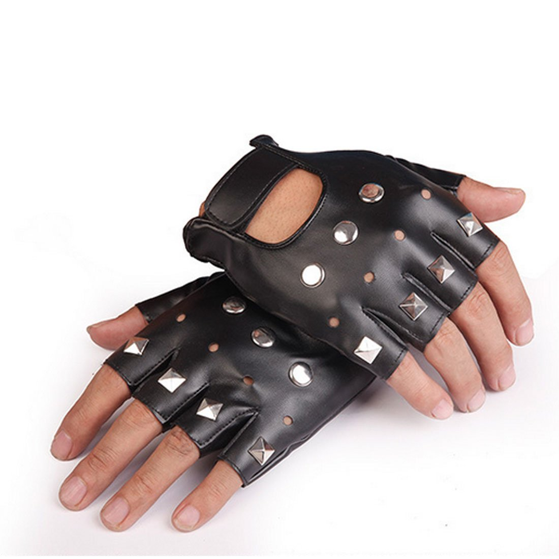 Yingniao PU Leather Fingerless Stud Metal Motorcycle Gloves Rock Gothic Punk Style NY6061704