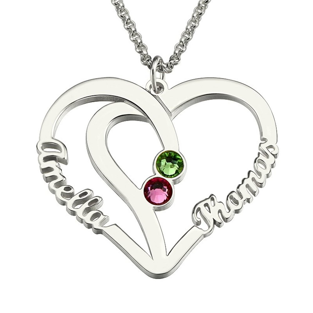 Custom Made Gift Heart Necklace Two Heart Necklace with Birthstones Mother Necklace Double Hearts Pendant Name Jewelry