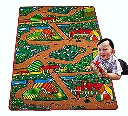 Kids Rug Farm Area Rug 3\' x 5\' Children Area Rug for Playroom & Nursery - Non Skid Gel Backing 39\