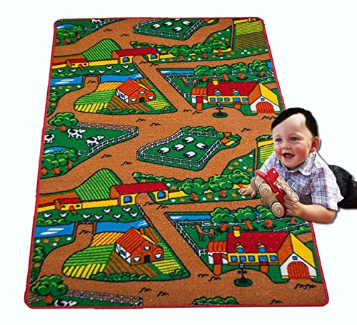 "Kids Rug FARM 2 Area Rug Area Rug 5' x 7' Children Area Rug for Playroom & Nursery - Non Skid Gel Backing (59"" x 82"")"